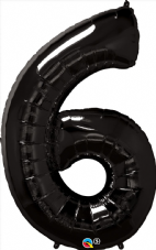 Number 6 Black Super Shape Number Foil Balloon